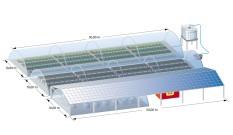 Aquaponik-System Einheit mit Brunnen und Batteriehäuschen - mit Gewächshäusern und PV Dach