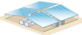 Vier Container-Einheiten mit PV-Dach